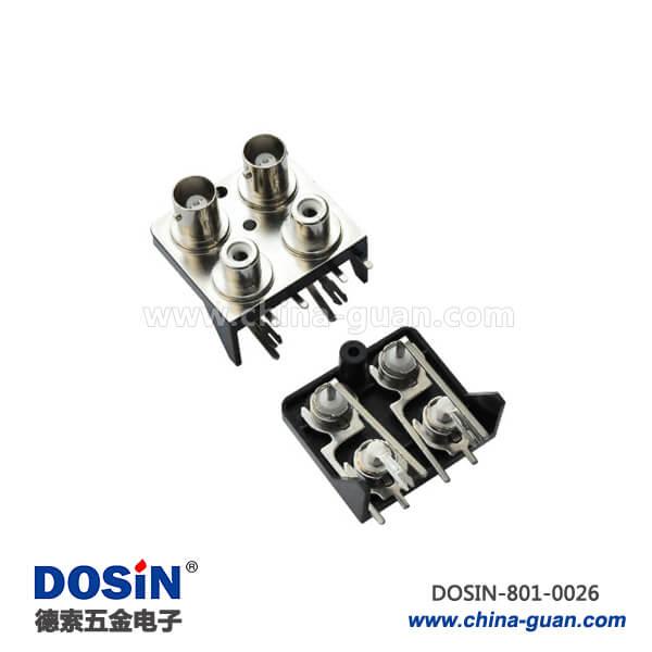 连接器bnc四同轴弯式母头锌合金50欧姆PCB板端
