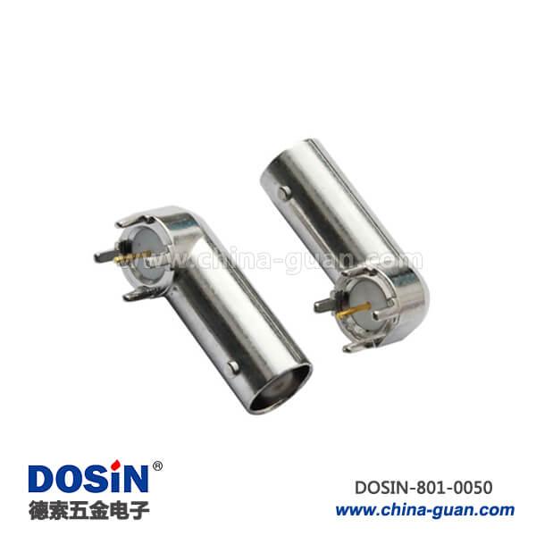 bnc 接口锌合金弯式母头4脚射频同轴连接器PCB板端