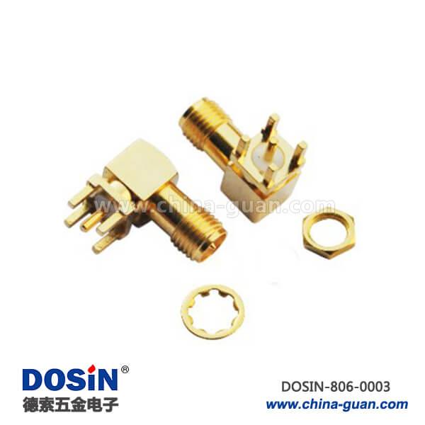sma 射频连接器弯式穿墙镀金母头PCB电路板
