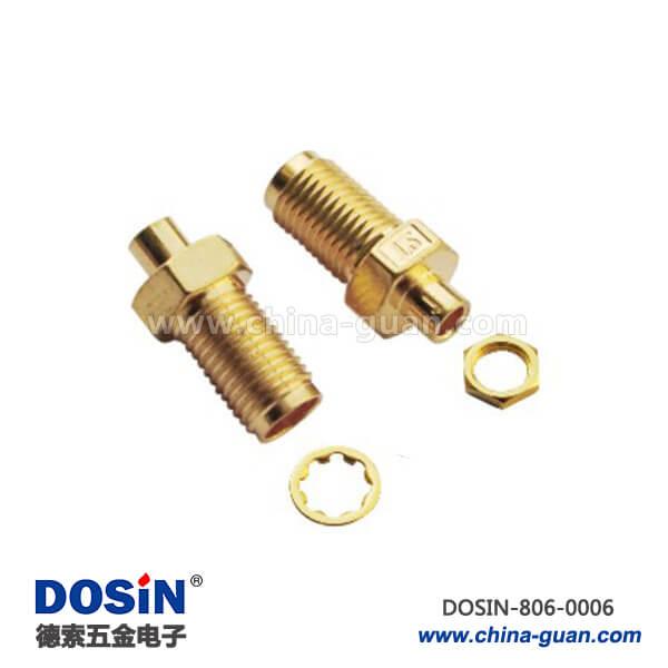 sma同轴连接器直式穿墙焊接镀金同轴线缆