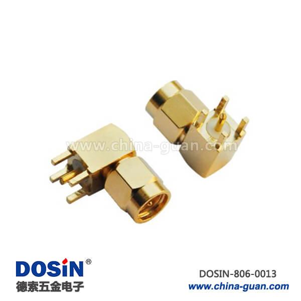 sma系列射频同轴连接器弯式公头PCB板端