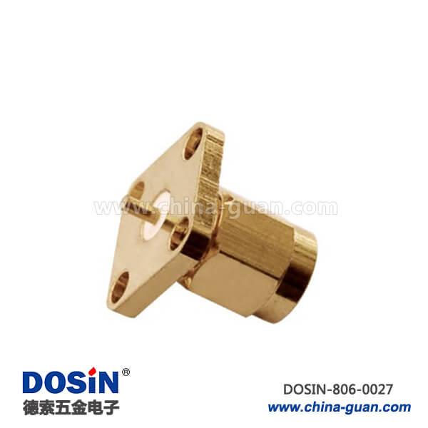 板端连接器母头直式法兰盘4孔焊接面板安装sma板端