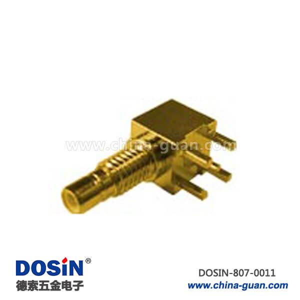 smb射频连接器同轴母头弯式方形5引脚镀金穿墙式PCB板端