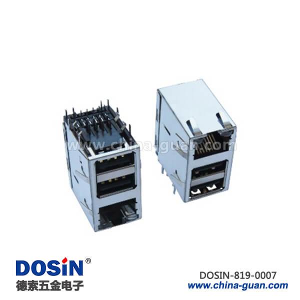 RJ45 USB连接器组合6针单RJ45双USB插孔
