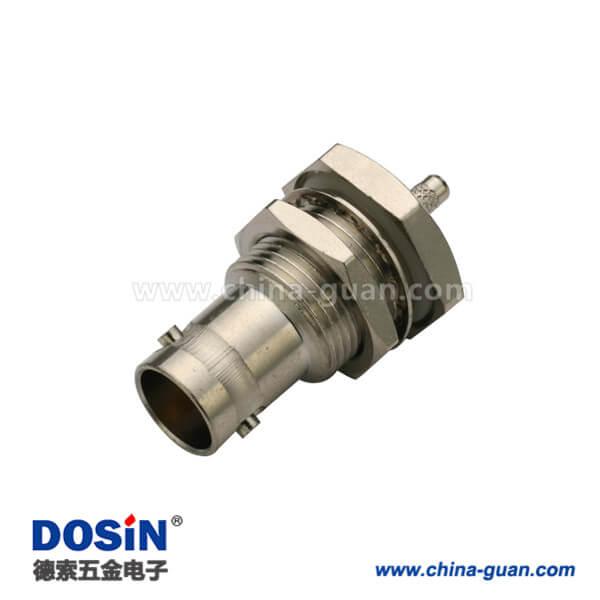 bnc母头焊线式防水穿墙直式射频同轴电缆连接器