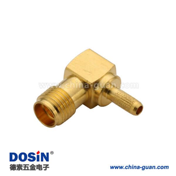 sma连接器弯式压接母头同轴线缆RG316