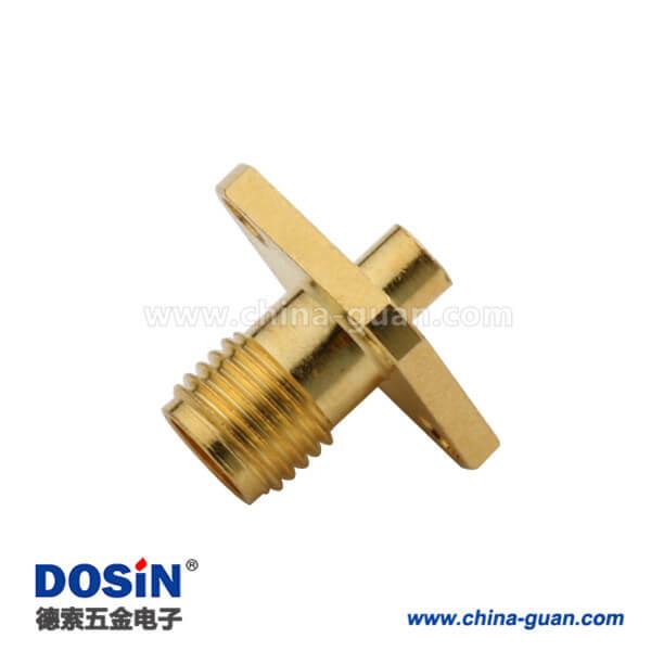 sma 连接器 母头4孔方形法兰座 同轴线缆UT141