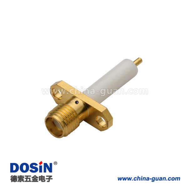 SMA连接器母头射频同轴 直式2孔法兰盘延长铁氟龙面板安装