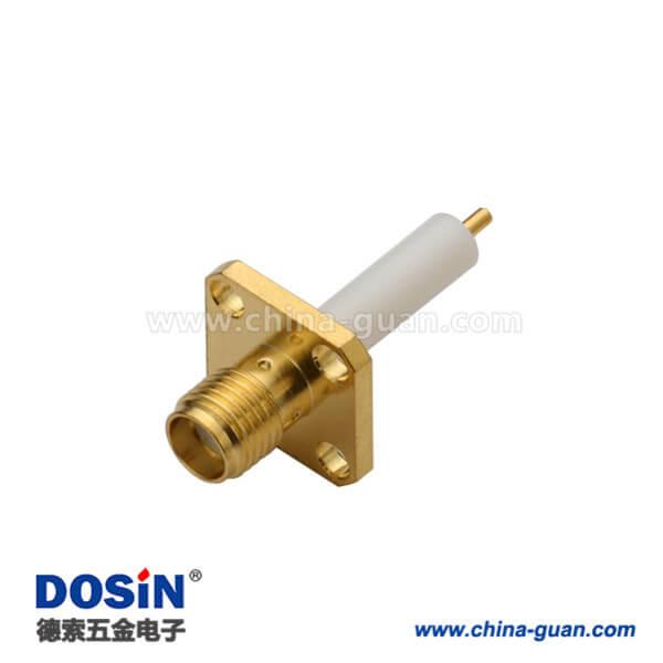 SMA4孔法兰直式母头延长铁氟龙面板安装连接器