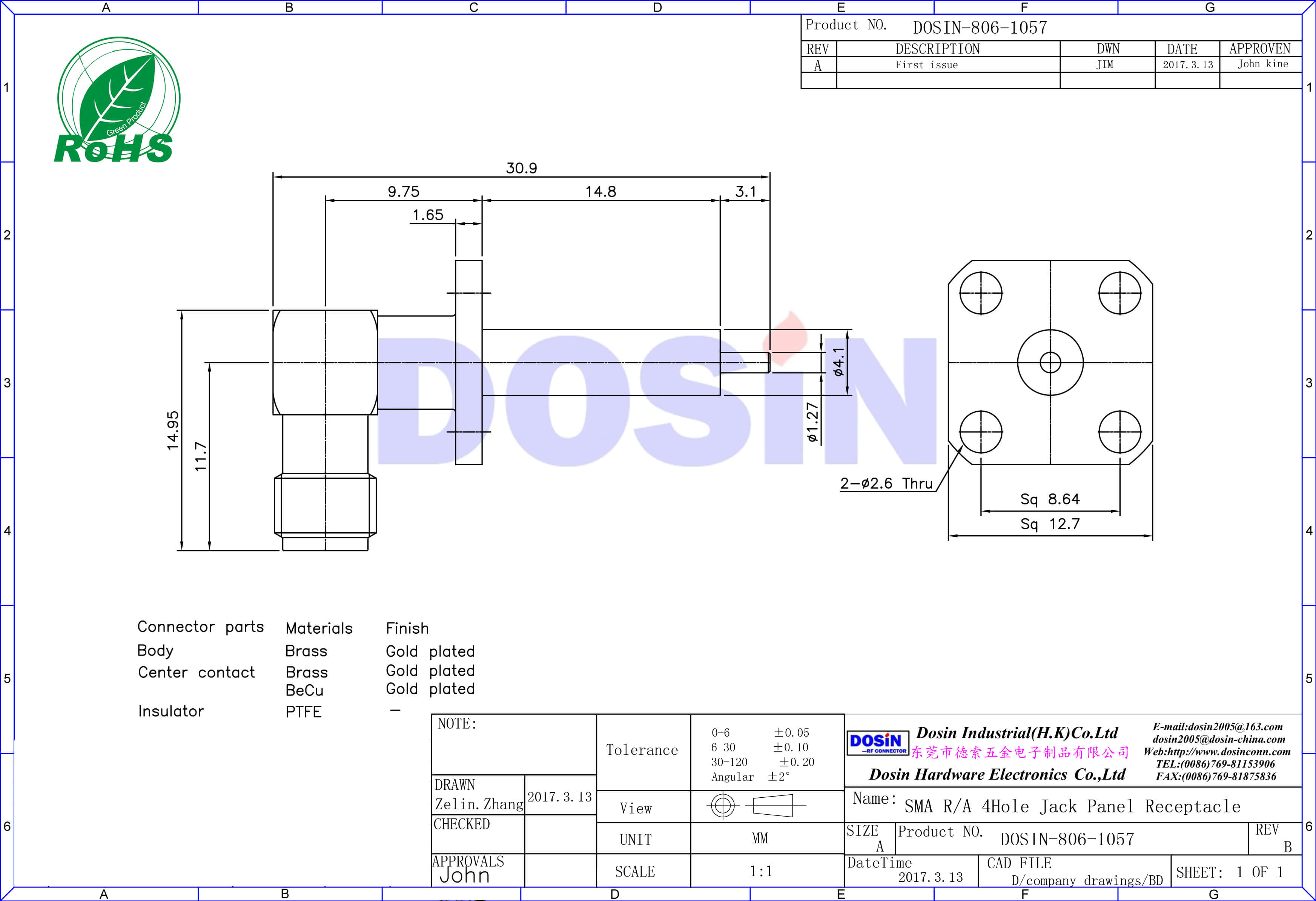 sma4孔镀金法兰面板安装接头延长铁氟龙连接器