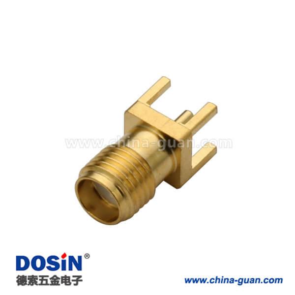 SMA直式镀金穿孔母头连接器PCB面板安装接头