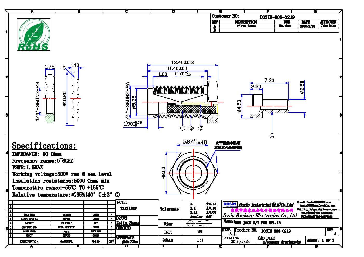 SMA接头焊接穿墙式SMA母头接RF1.13
