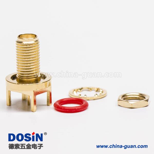 SMA连接器母头直式插孔接PCB板防水接头