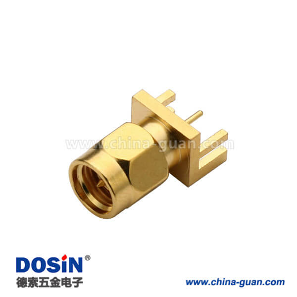 SMA卡板式镀金直式公头插座PCB射频连接器