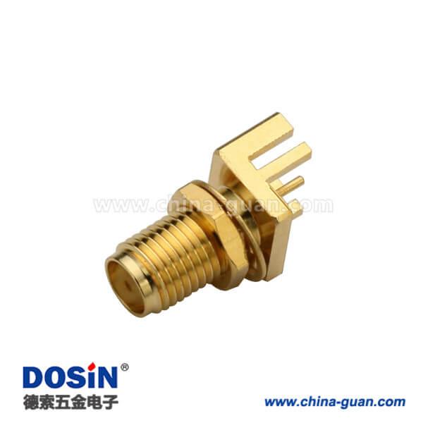 SMA镀金母座前锁穿墙式接1.60mm电路板直插 PCB卡板式