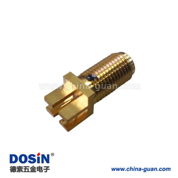 SMA母头卡板直式前穿墙接2mm电路板树脂灌胶PCB连接器