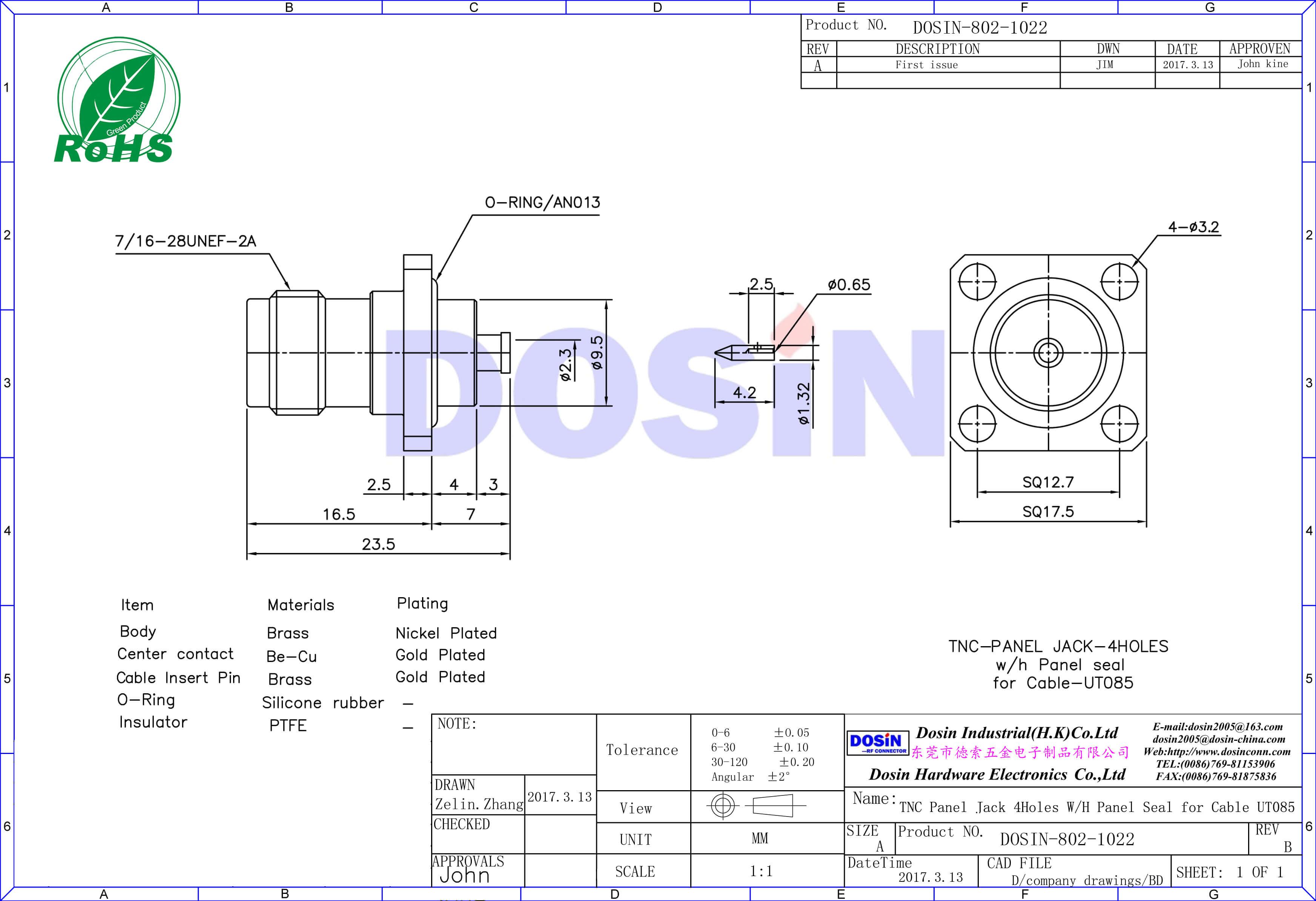 tnc连接器4孔法兰安装盘直式焊接ut085同轴线缆