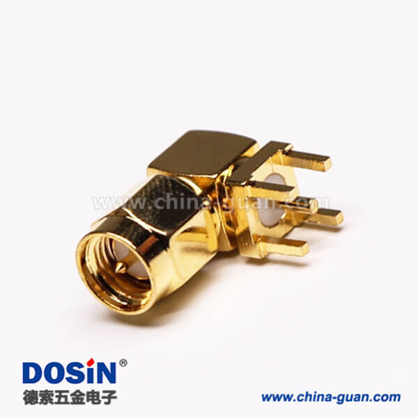 SMA公头公针弯头射频连接器穿孔接PCB板