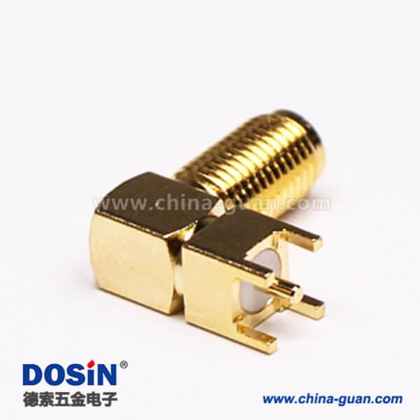 SMA直角弯头RF连接器镀金母头插PCB板