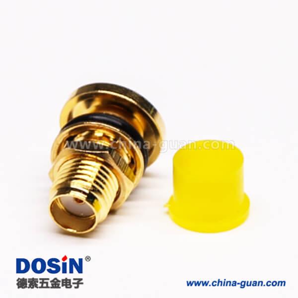 SMA防水连接器直式母头穿墙车针焊线带防尘盖