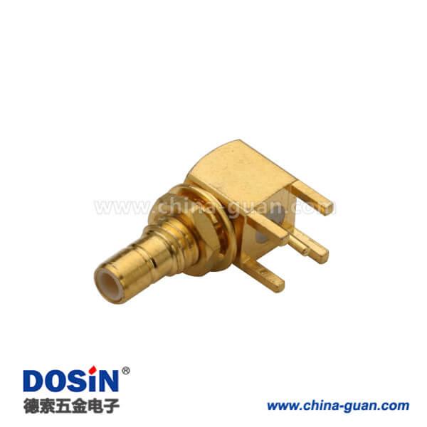 smb连接器母头弯式射频同轴连接器接pcb板穿墙式