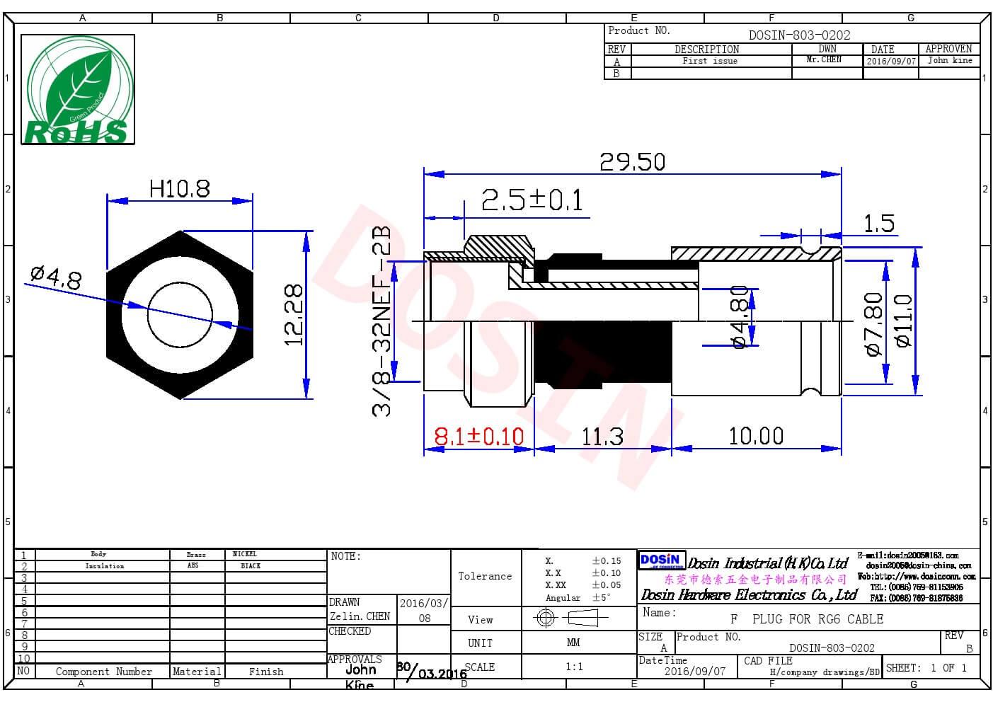 RG6F头接同轴连接器直式挤压式公头