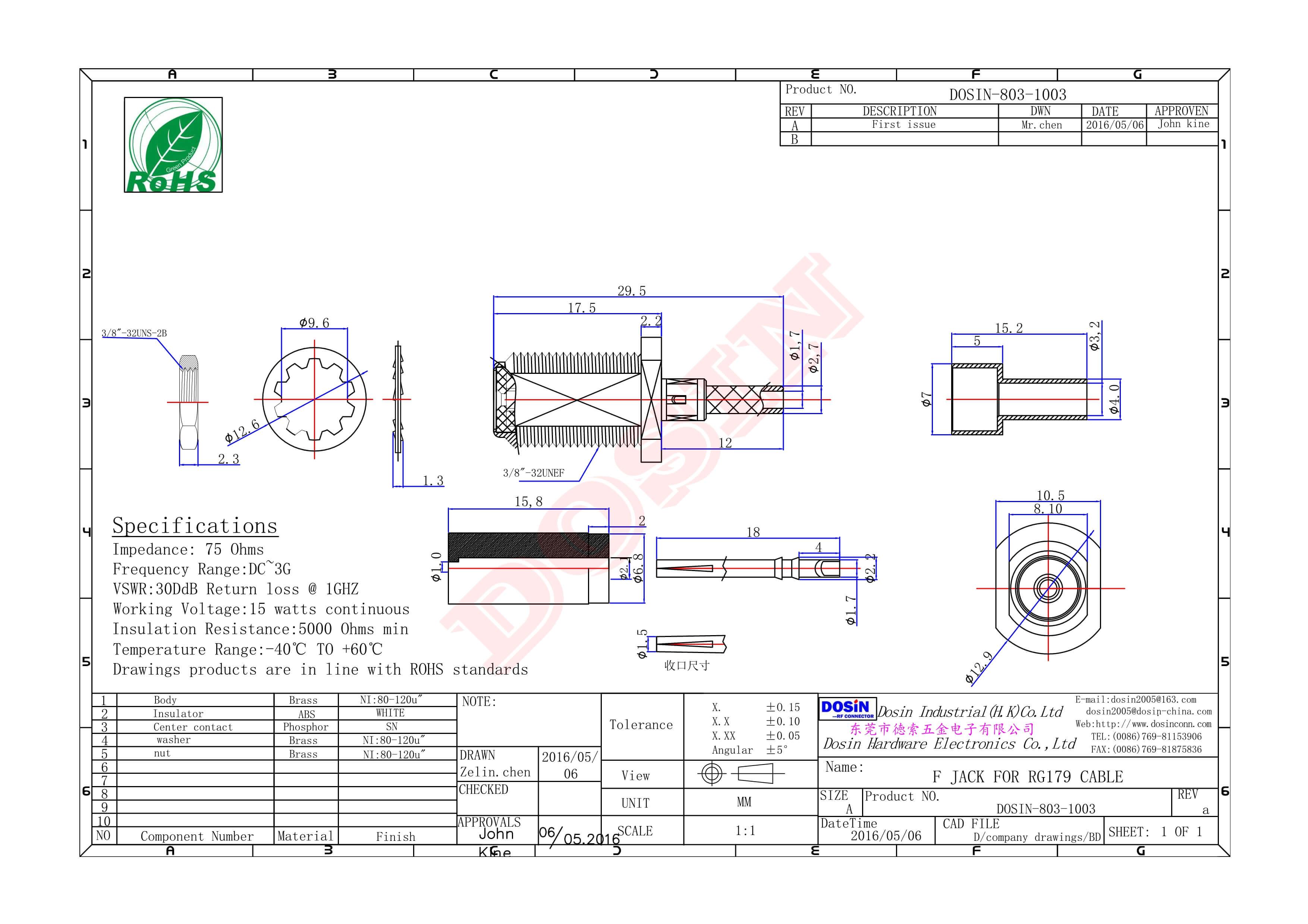 英制f母头直式防水接线RG316压接式