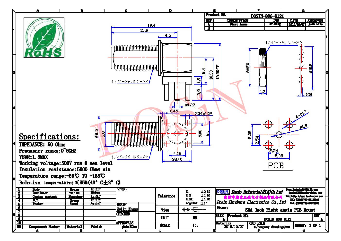 SMA型90度四脚插座母头接PCB板