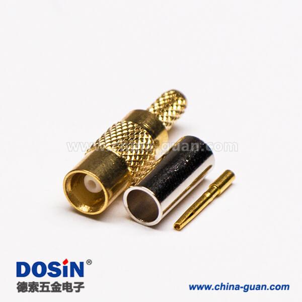 MCX接口公头直式同轴连接器压接式接线