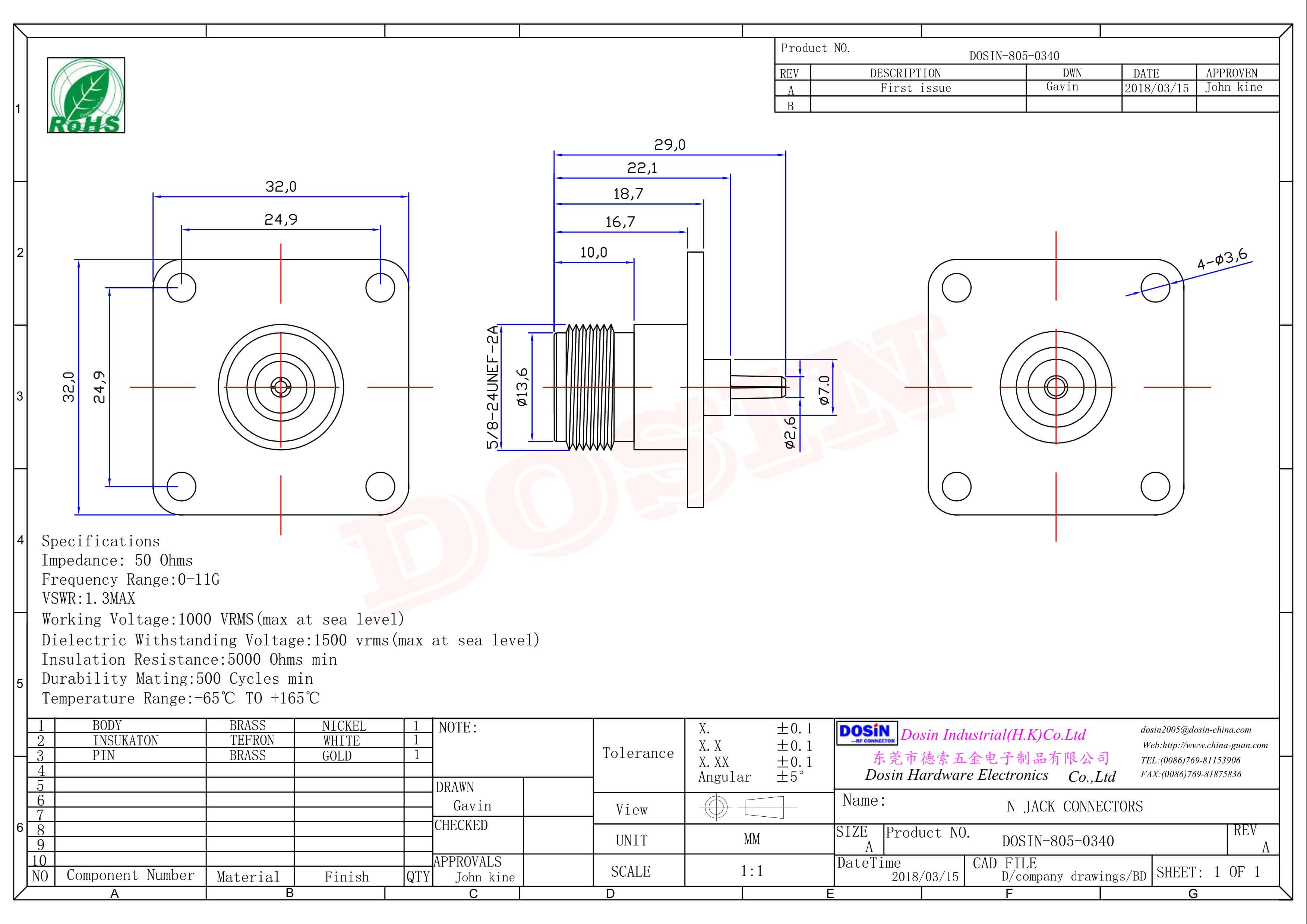 法兰n型射频接头母头直式4孔法兰面板安装