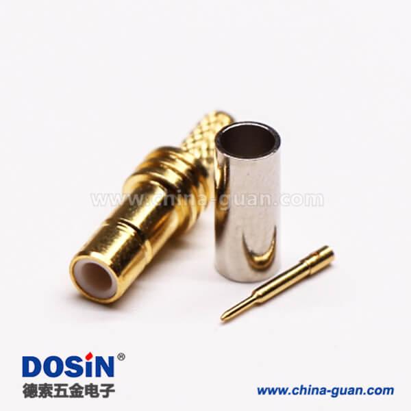 smb连接器直式母头压接式接同轴线缆