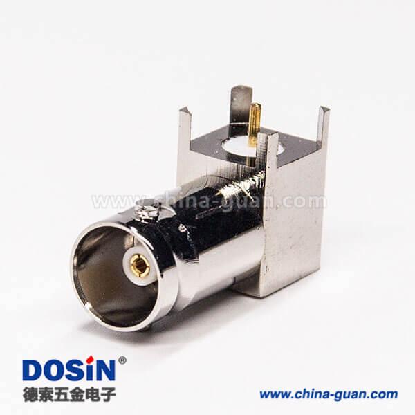 bnc母连接器90度弯头穿孔插PCB板