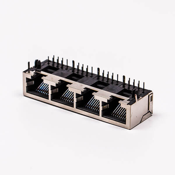 4口rj45插座母头带屏蔽铜壳90°无灯接PCB板