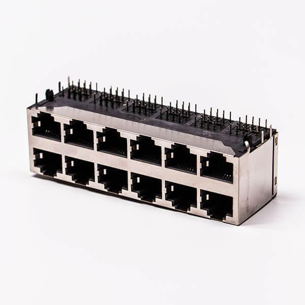 12口rj45铜壳2*6双排屏蔽无灯无弹片母座接PCB