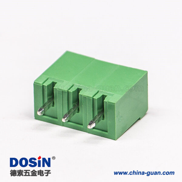 对插绿色接线端子直式3芯穿孔式直式插拔式绿色端子