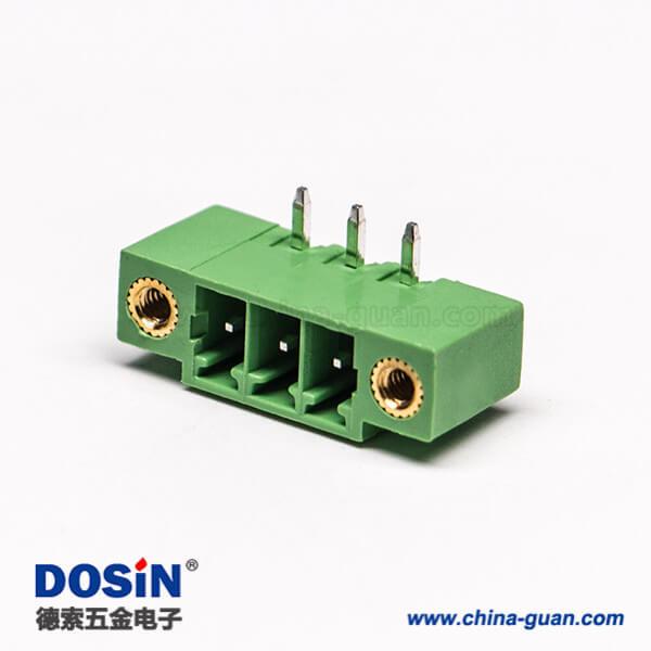 绿色接线端子2孔法兰弯式3芯插孔PCB板安装端子连接器