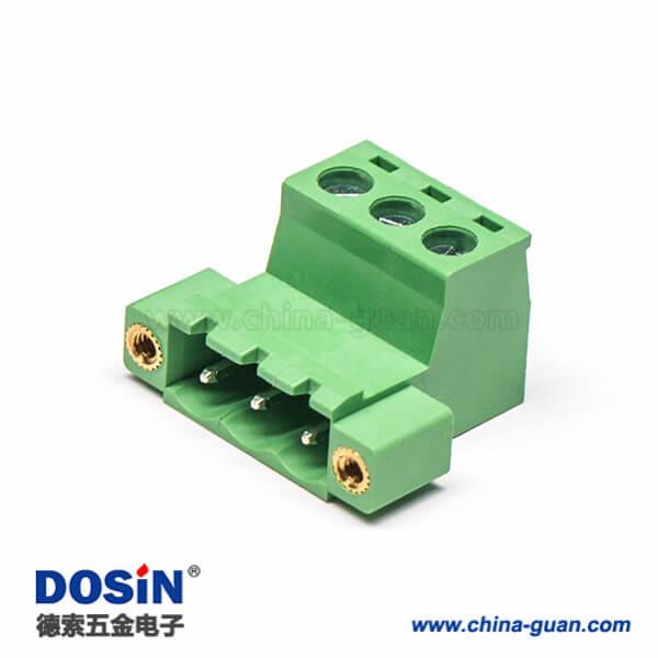 螺钉式插拔式PCB接线端子3芯弯式带2孔法兰绿色插拔式端子