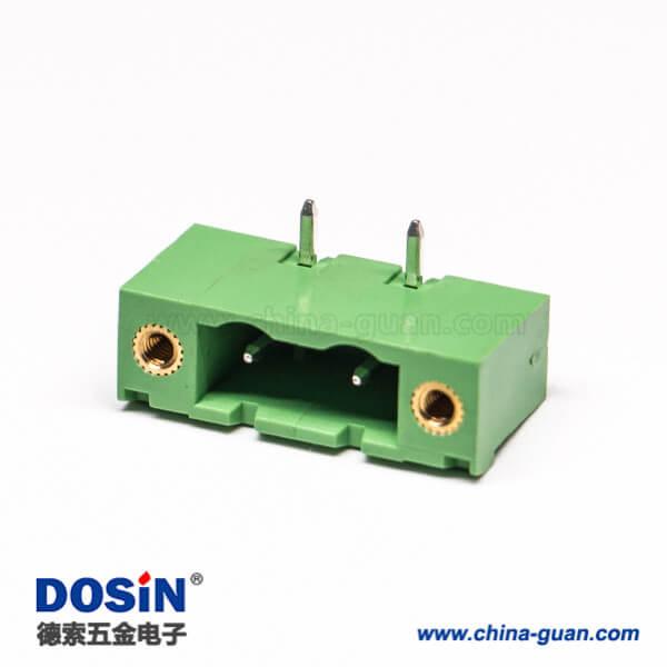 插拔式接线端子弯针2芯2孔法兰绿色PCB板端子座