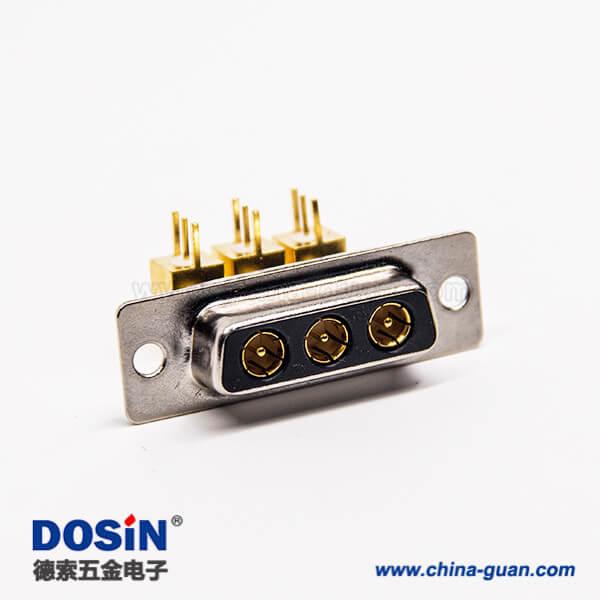 大电流d sub 3w3连接器公头弯式插PCB板铆锁