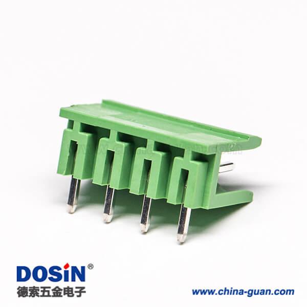 绿色弯端子4芯弯式穿孔式绿色PCB板插拔式接线端子