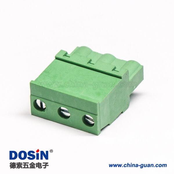 插拔端子带3个螺丝直式绿色插拔式插头