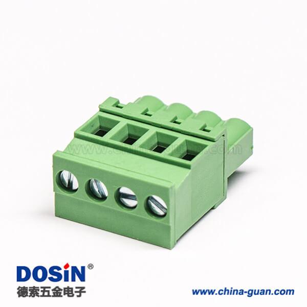 插拔接线端子直式带4个螺钉式的插拔式接线端子绿色