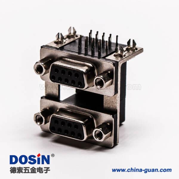 双层d sub连接器9针母对母铆锁黑胶接PCB板