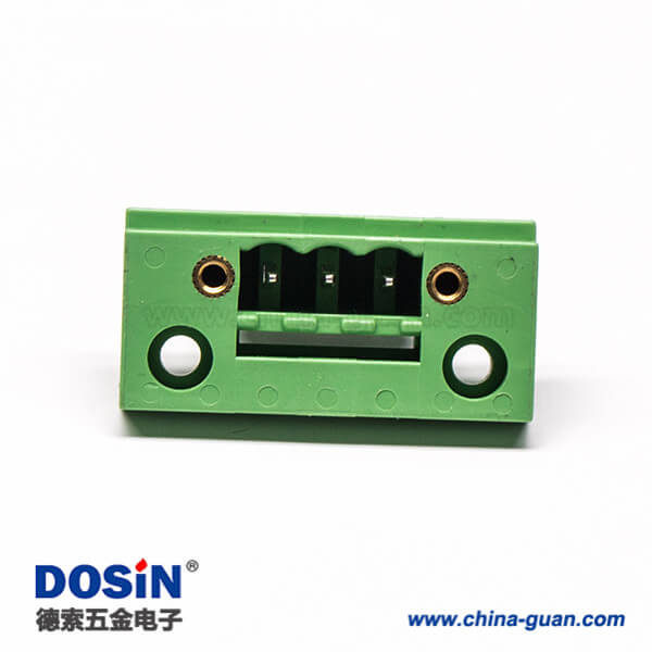 绿色端子台3芯带两个螺丝孔直式穿孔接线端子