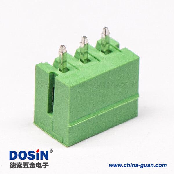 直弯针PCB接线端子3芯直式180度穿孔PCB板安装绿色端子