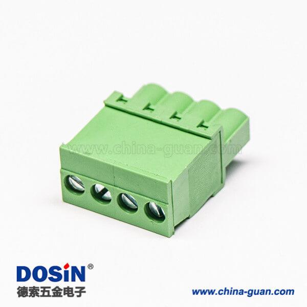 插头接线端子直式绿色插拔式4螺丝插头绿色端子直式