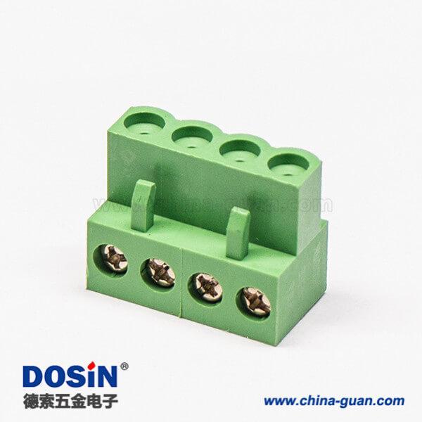 对插绿色接线端子弯式4螺丝插拔式端子插头