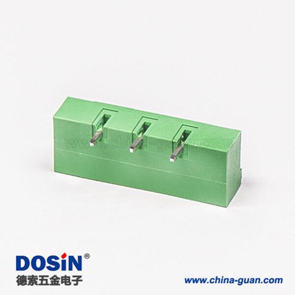 插拔式端子台3芯2孔法兰安装直式绿色端子座