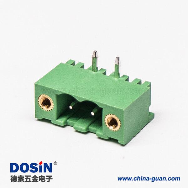 弯针接线端子2芯弯式插孔绿色PCB板插拔式端子