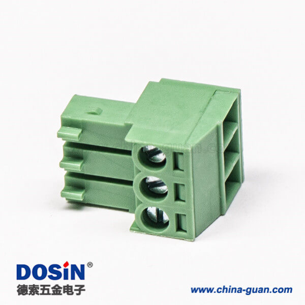插拔式接线端子直式穿孔带三螺钉端子插头绿色